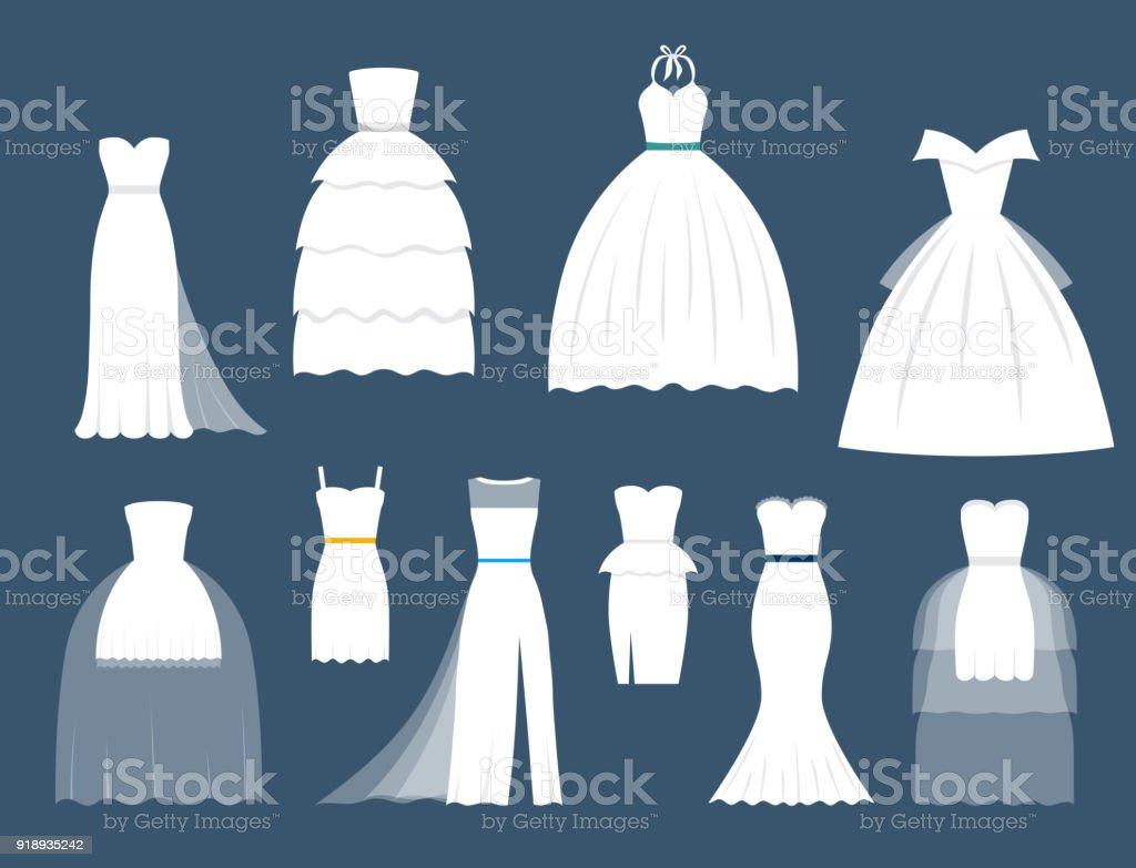 Wedding White Bride Vector Dress Elegance Fashion Style Celebration ...