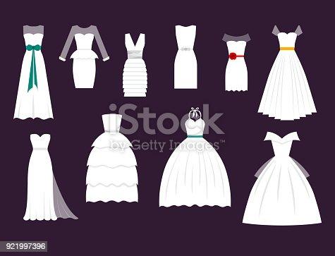 istock Wedding white bride vector dress elegance fashion style celebration bridal shower weddind-day composition illustration 921997396