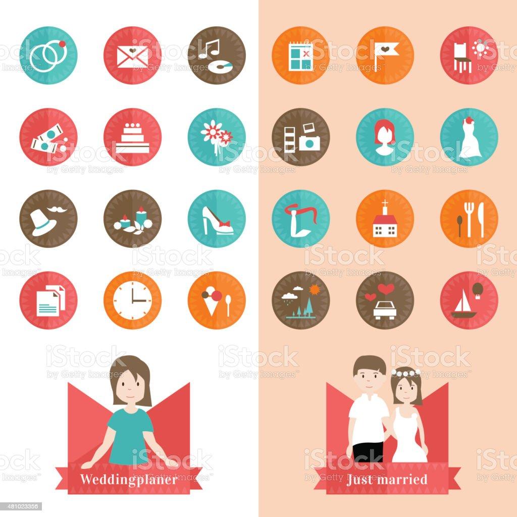 Weddingplaner 24 Symbole – Vektorgrafik