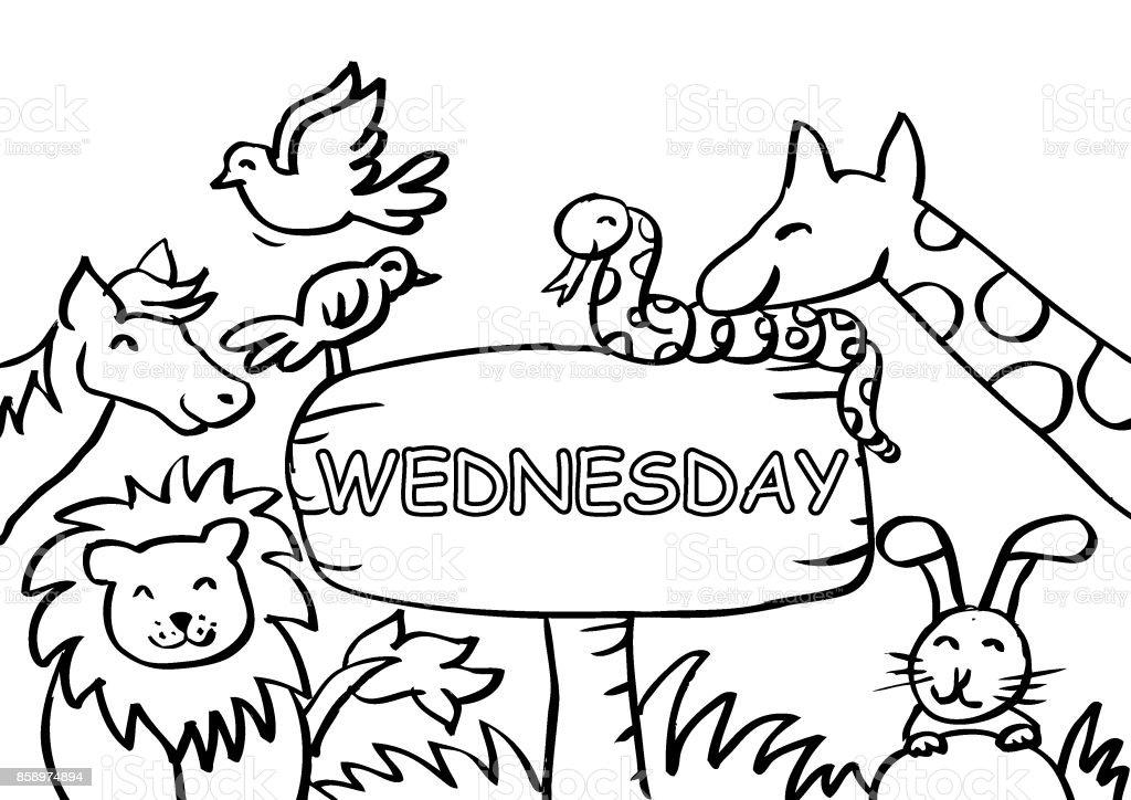 Ilustración de Página Para Colorear De Miércoles Con Animales y más ...