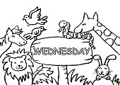 Wednesday Coloring Page with Animals