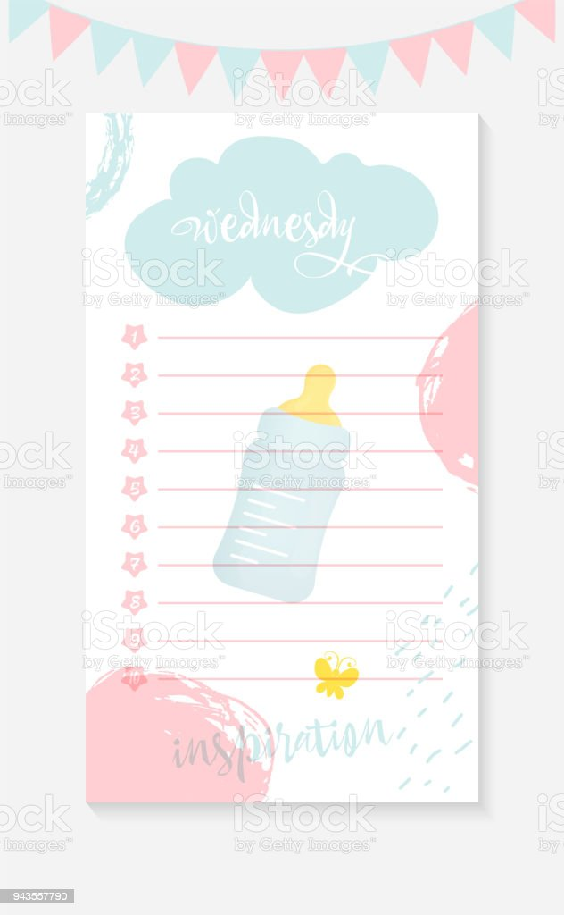 Wednesday Daily To Do List For A Mother Of A Newborn Kid Stock