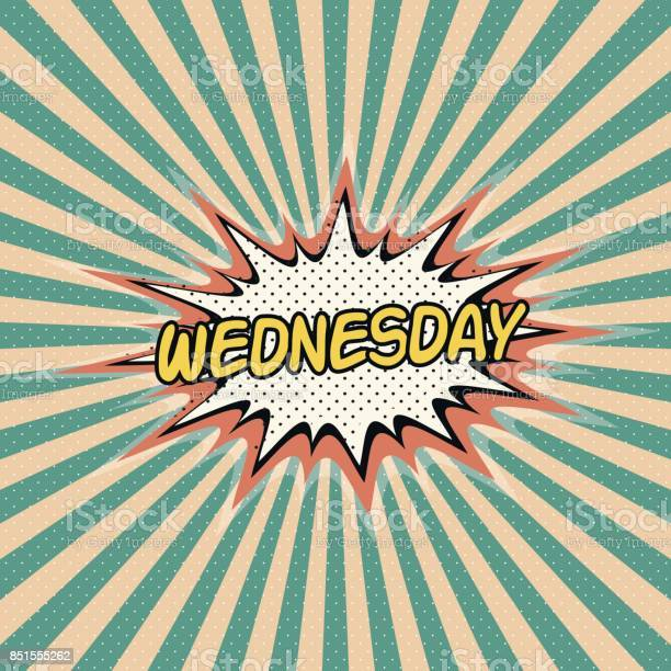 Wednesday day week, Comic sound effect, pop art banner, Bubble speech word vector cartoon expression. Wednesday day of the week rays