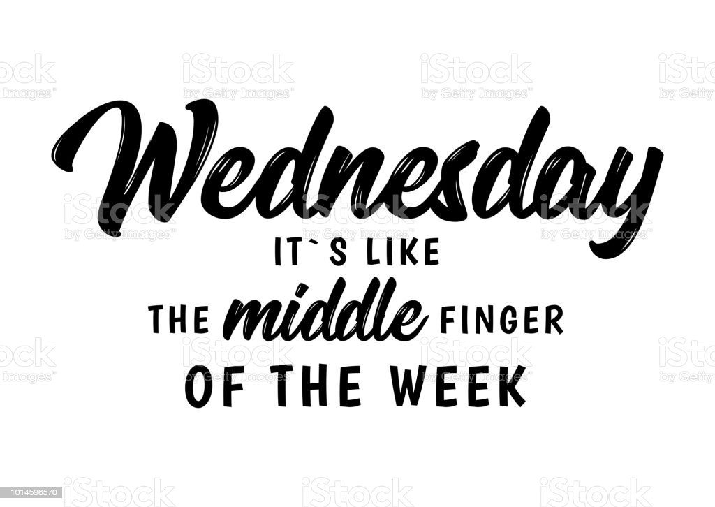 wednesday funny quote Wednesday. It`s like a middle finger of the week. Brush Lettering Vector Illustration Design. Social media typography funny content. Fun for calendar template, planner, journal. Background. Alphabet stock vector