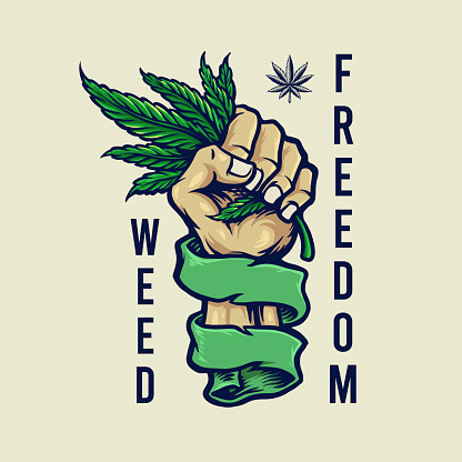 """Weed Freedom Vintage mascot illustrations for your work Logo, mascot merchandise t-shirt, stickers and Label designs, poster, greeting cards advertising business company or brands.""""n"""