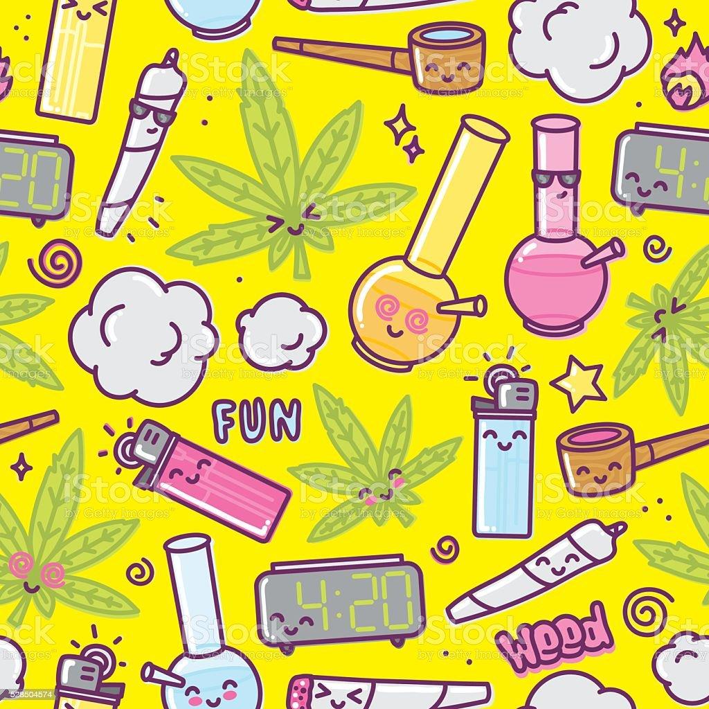 Weed kawaii cartoon seamless vector pattern vector art illustration