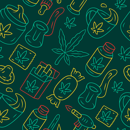 Weed products vector seamless pattern. Cannabis industry background. Green texture, linear color icons. CBD lollipop, cigarettes, drink. Marijuana legalization wrapping paper, wallpaper design