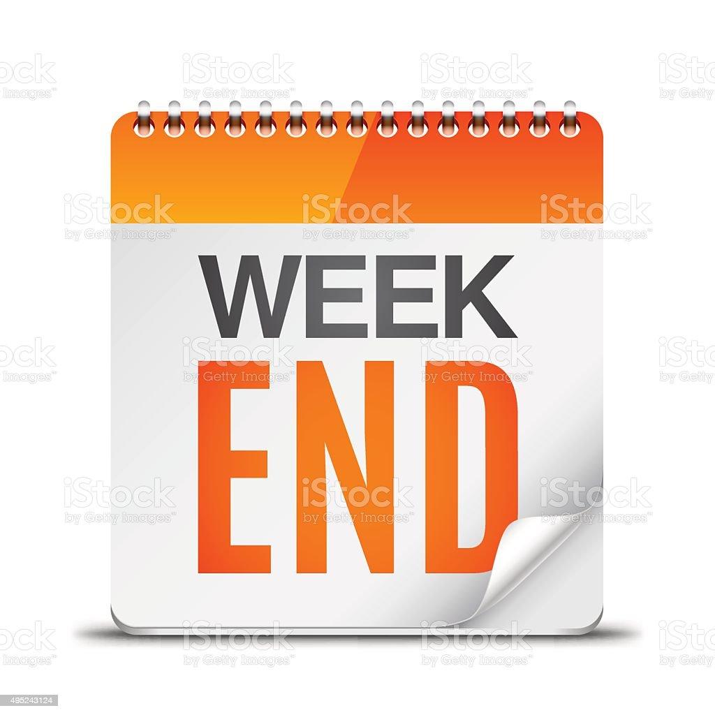 Week End Calendar vector art illustration