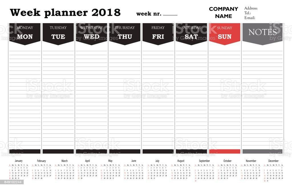 Verwenden Sie Planer 2018 Wochenkalender Terminkalender Und ...