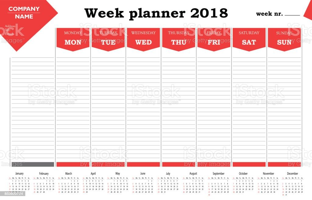 Week planner 2018 calendar, schedule and organizer for companies and private use vector art illustration