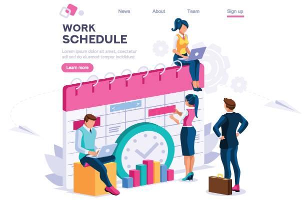 stockillustraties, clipart, cartoons en iconen met week schema dagelijks plan concept - vluchtschema