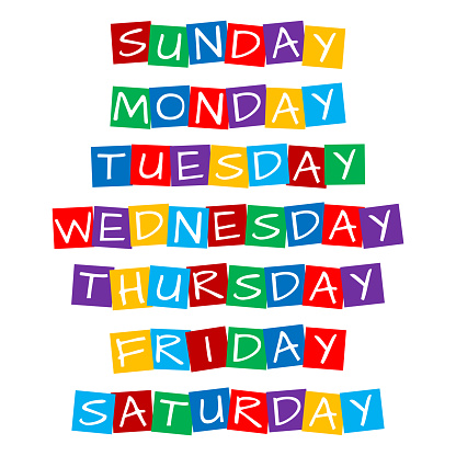 weekday names set, text in colorful rotated squares