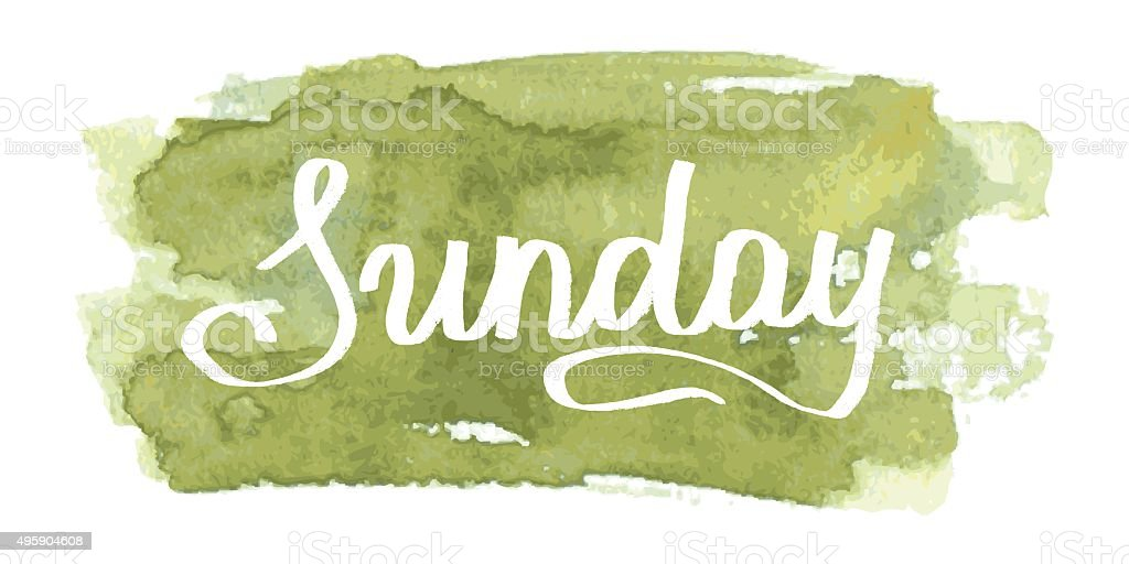 Weekday 'Sunday'  Hand-drawing lettering. Vector vector art illustration