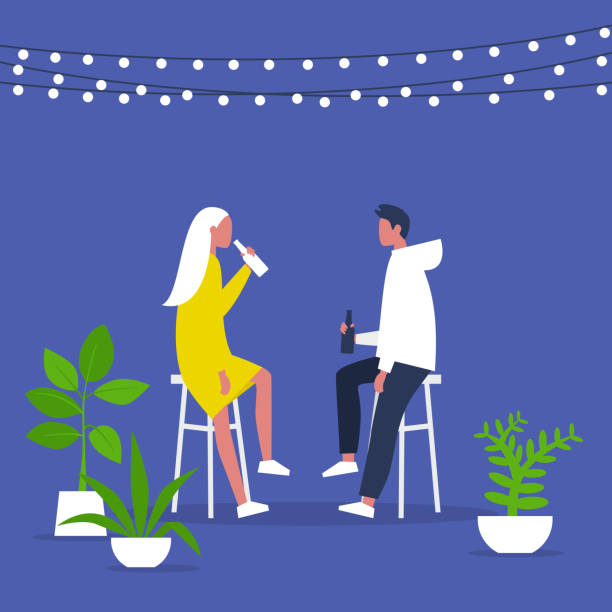 Weekend activities. Romantic date in a garden. Outdoor cafe terrace. String lights and plants. Hipster cafe. Summer. A couple drinking beverages. Flat editable vector illustration, clip art Weekend activities. Romantic date in a garden. Outdoor cafe terrace. String lights and plants. Hipster cafe. Summer. A couple drinking beverages. Flat editable vector illustration, clip art patio stock illustrations