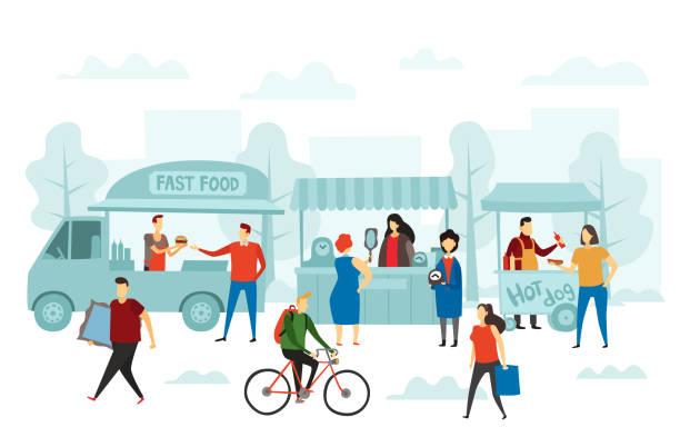 주말 박람회 시장. 거리 상점, 음식 트럭과 벼룩 시장 벡터 일러스트 - 바자 stock illustrations