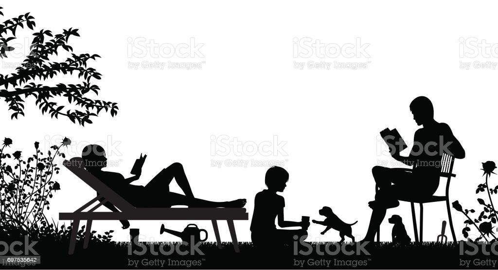 Weekend family vector art illustration