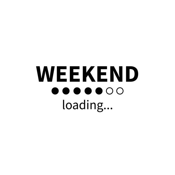Weekend loading bar. Vector eps funny business concept. Party weekend is coming illustration. Installing Friday Saturday Sunday. Isolated on white background. Weekend loading bar. Vector eps funny business concept. Party weekend is coming illustration. Installing Friday Saturday Sunday. Isolated on white background city break stock illustrations