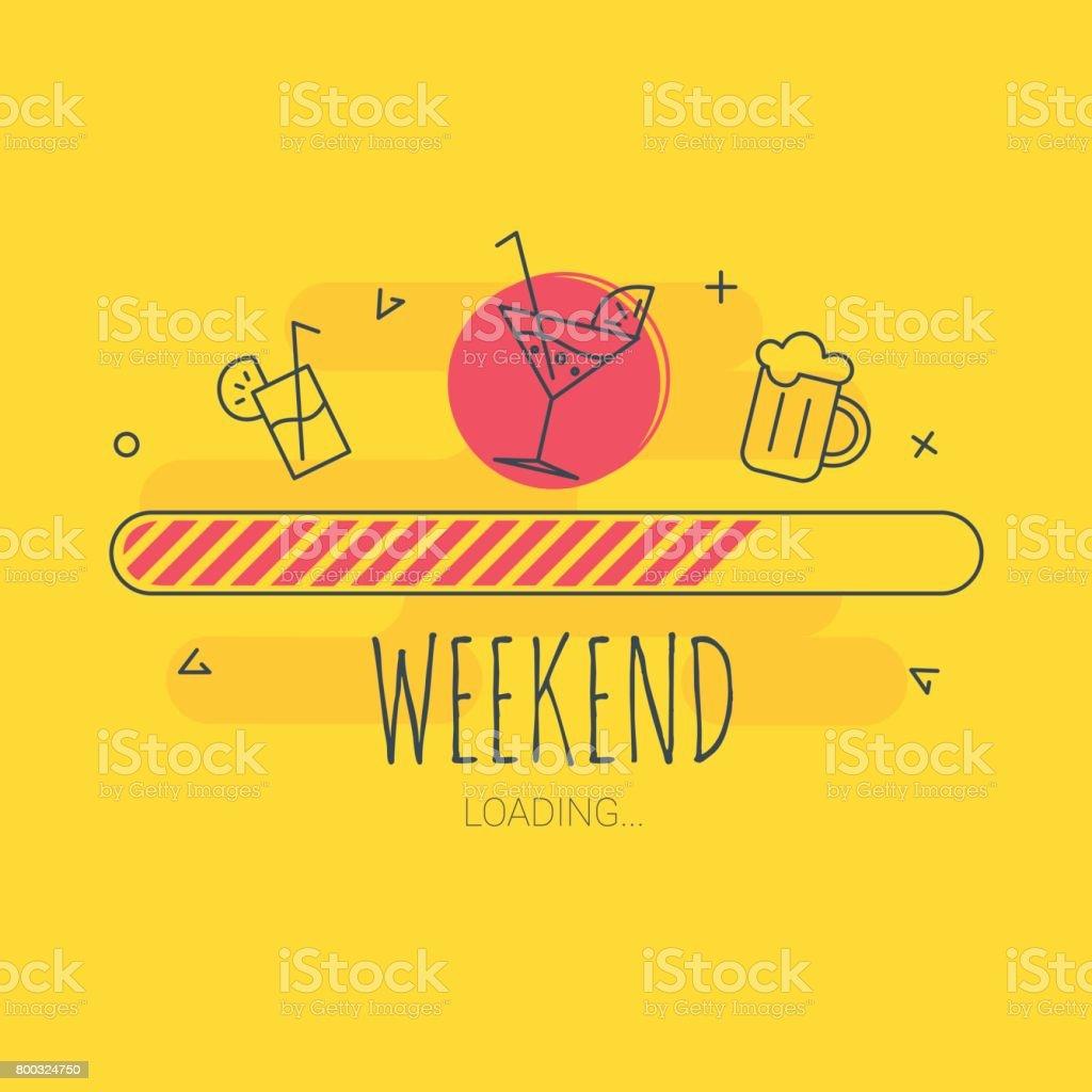 Carregamento de fim de semana - ilustração vetorial - ilustração de arte em vetor