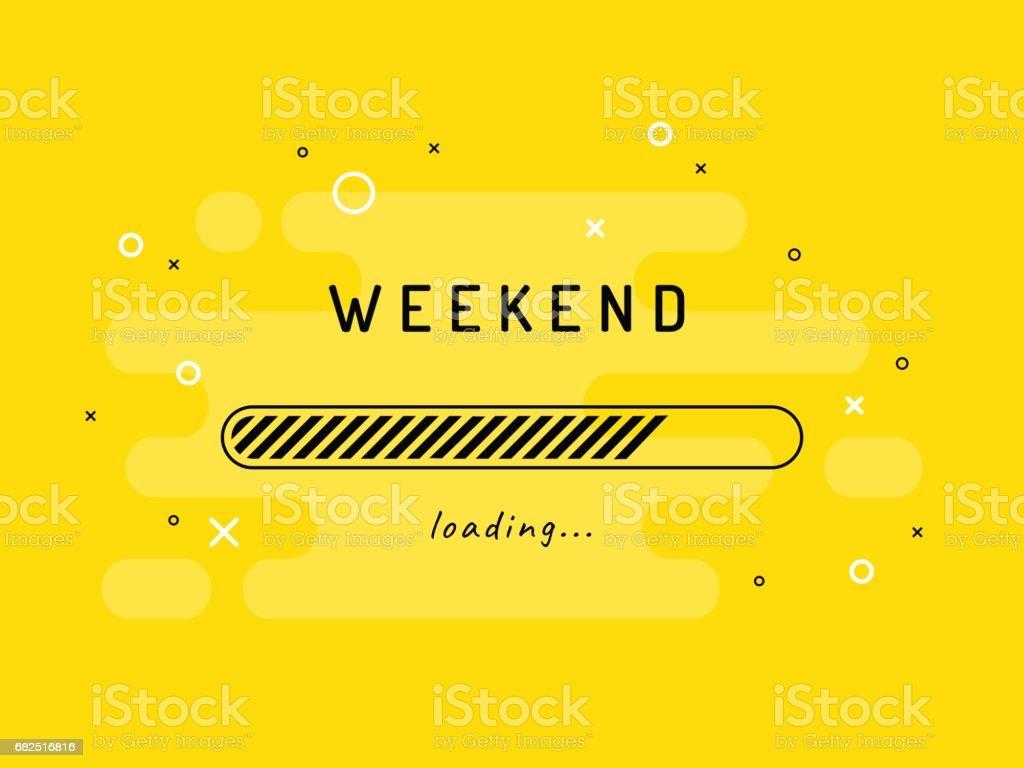 Weekend loading - vector illustration. Yellow background. - ilustração de arte em vetor