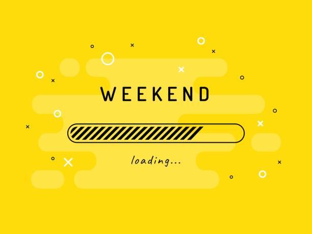 Weekend loading - vector illustration. Yellow background. Weekend Activities, Loading, Background. sunday stock illustrations