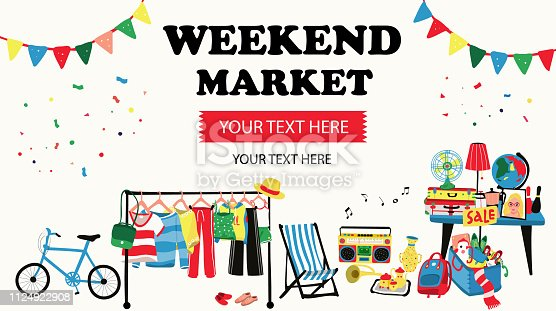 Weekend market banner with second hand shop doodle selling all old things like, clothes, suitcases, shoes, map, lamp and furnitures, all on white background, illustration, vector
