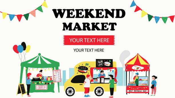 stockillustraties, clipart, cartoons en iconen met weekend markt - marktkraam