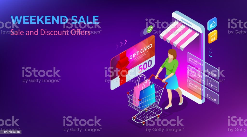 Weekend Sale And Discount Offers Online Shopping Seasonal Sale With Discount Coupons Isometric Smart Phone Online Shopping Concept Online Store Shopping Cart Icon Stock Illustration Download Image Now Istock