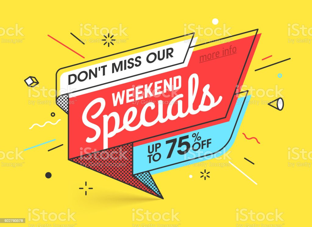 Weekend Specials Sale Banner Stock Illustration - Download