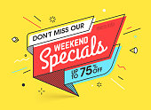Weekend specials, sale banner template in flat trendy new geometric style, retro 80s - 90s paper style poster, placard, web banner designs, vector illustration