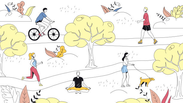 Weekend Time Leisure Concept. People Walk In the Park, Do Yoga, Ride Bicycle. Active People Do Sport And Have A Good Time. Weekend Active Time. Cartoon Linear Outline Flat Style. Vector Illustration Weekend Time Leisure Concept. People Walk In the Park, Do Yoga, Ride Bicycle. Active People Do Sport And Have A Good Time. Weekend Active Time. Cartoon Linear Outline Flat Style. Vector Illustration. active lifestyle stock illustrations