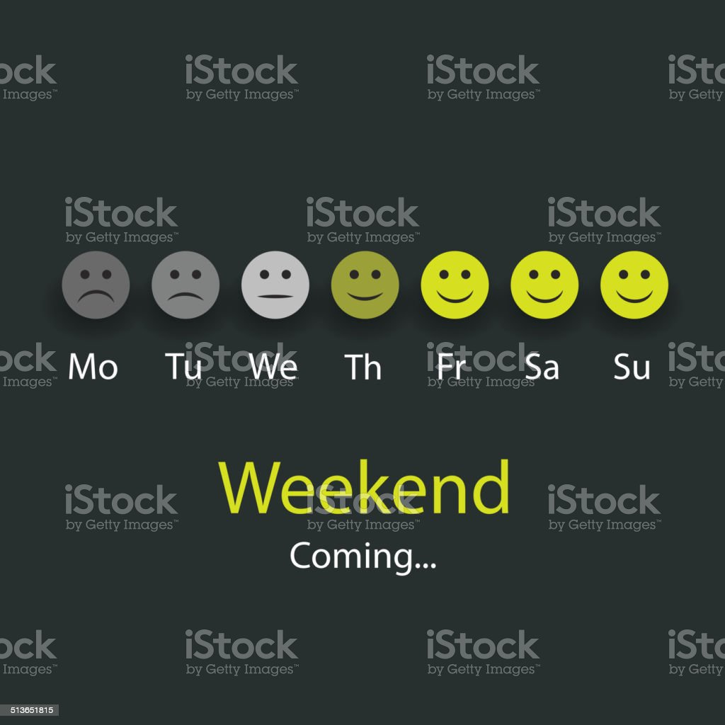 Weekend's Coming - Design Concept with Smiling Faces vector art illustration