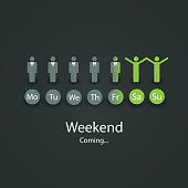 Abstract Workdays - Weekend Concept Background Design with Figures in Editable Vector Format