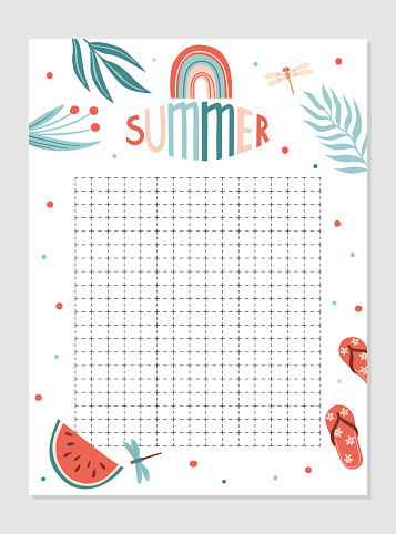 Weekly and daily Planner template.  Schedule with Notes and To Do List with summer items. Vector illustration