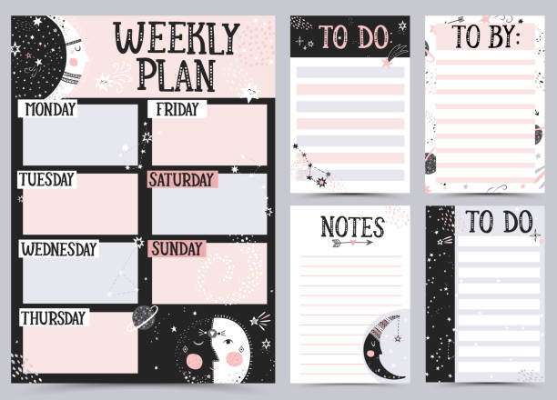 illustrazioni stock, clip art, cartoni animati e icone di tendenza di weekly and daily planner template. - to do list