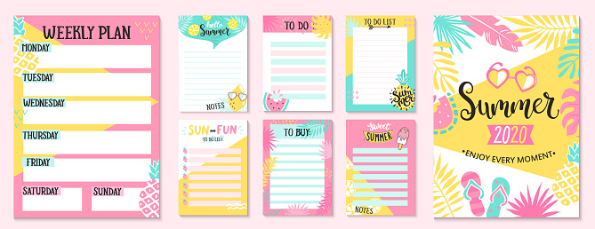 Weekly and Daily Planner, to buy and to do lists.