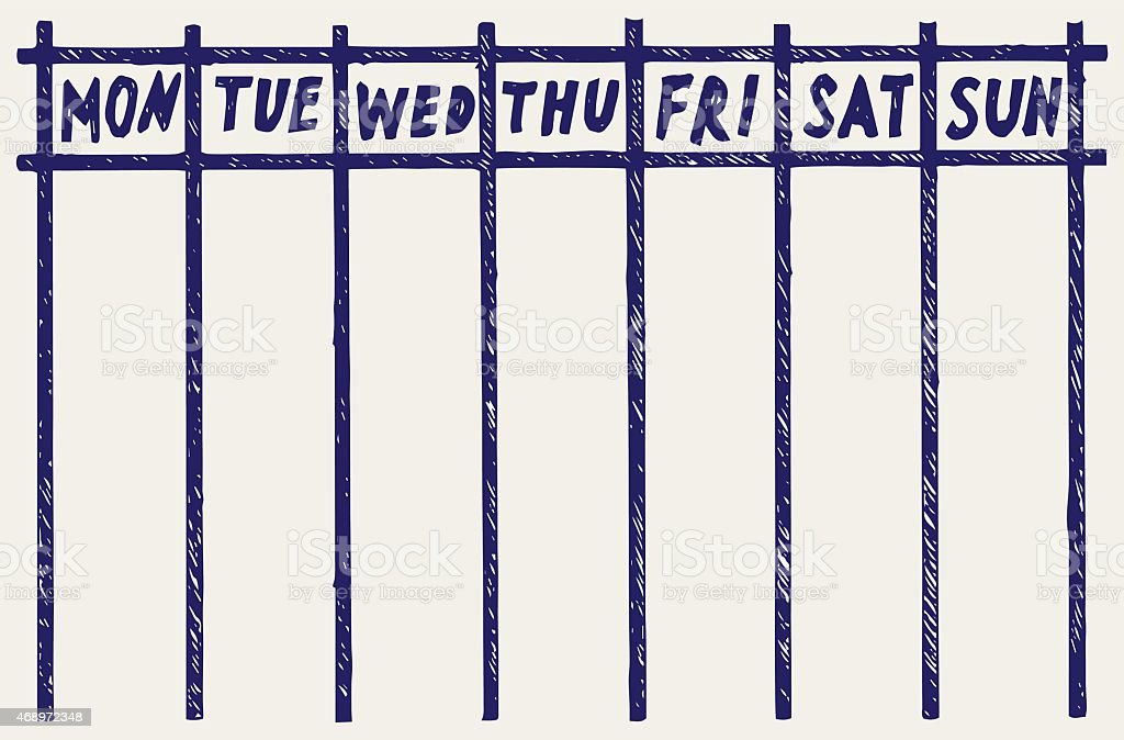 Weekly Calendar Monday To Sunday : A weekly calendar monday through sunday stock vector art