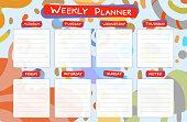 Weekly calendar planner. Planning tasks.