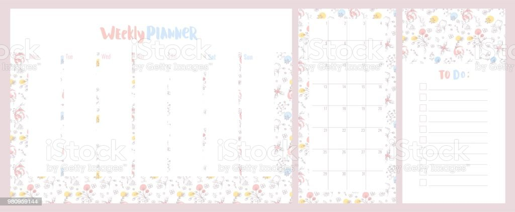 weekly daily planner and to do list with cute pastel colored floral
