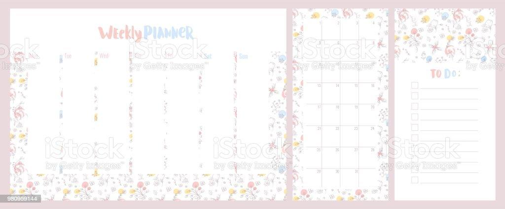 Planificador semanal, diario y hacer la lista con patrón floral color pastel lindo. - ilustración de arte vectorial
