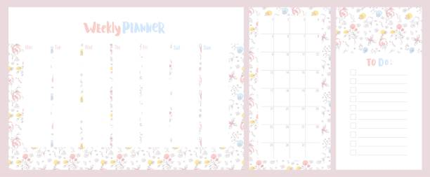 Weekly, daily planner and to do list with cute pastel colored floral pattern. vector art illustration