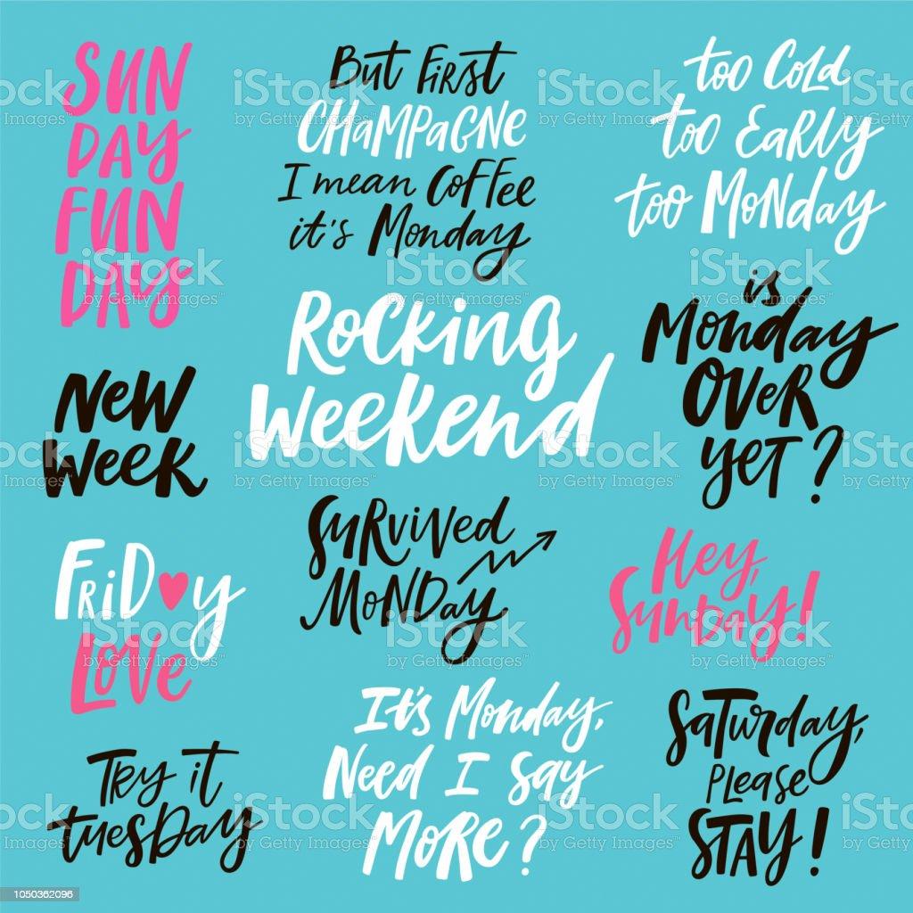 Wochentliche Handgeschriebene Zitate Stock Vektor Art Und Mehr