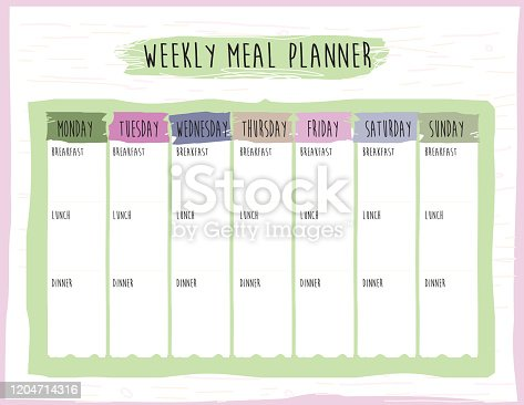 Vector illustration of a Weekly Meal Plan Calendar Organizer design template. Easy to edit. Includes print at home, ready jpg file and editable Vector eps file.