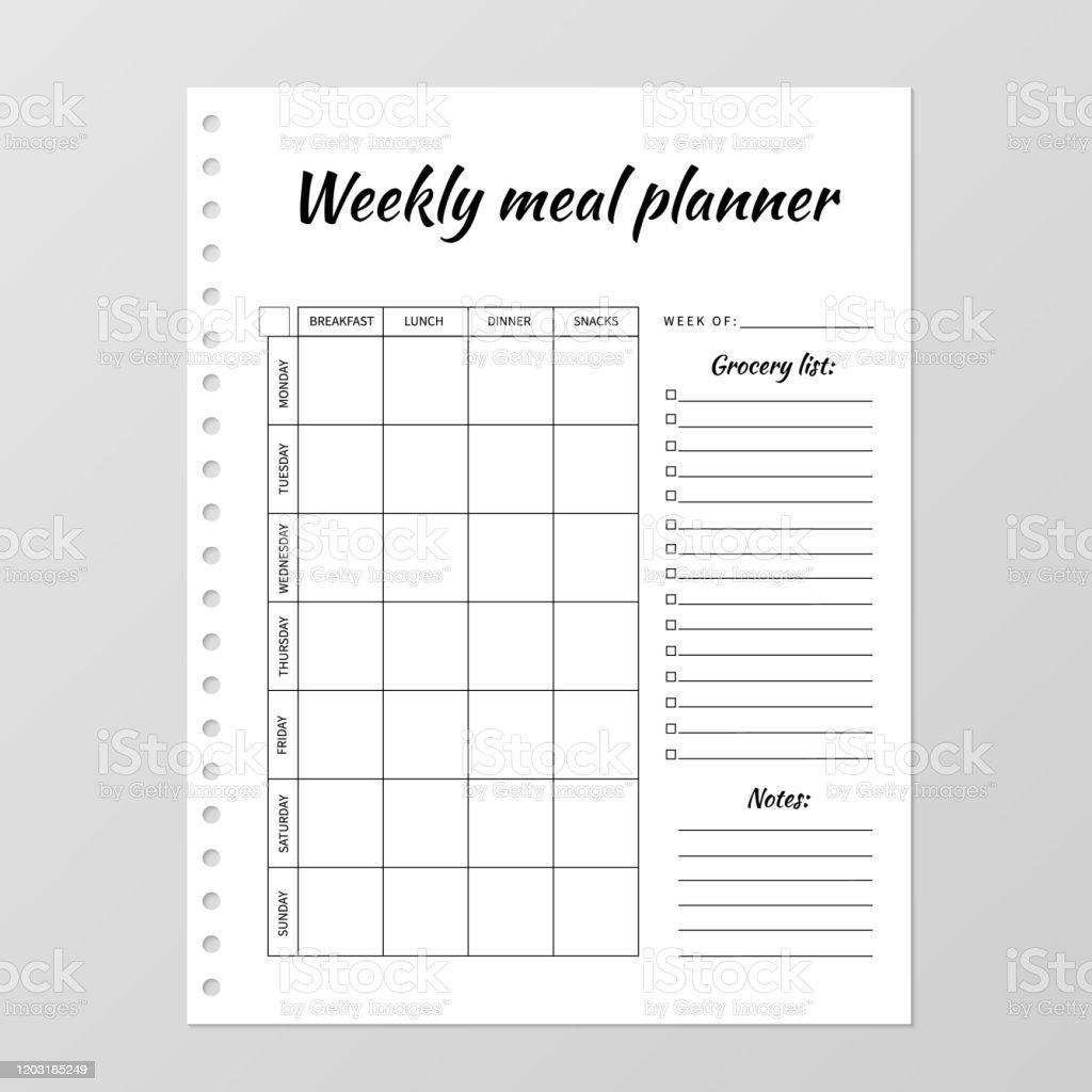 plantilla menu semanal comida y cena