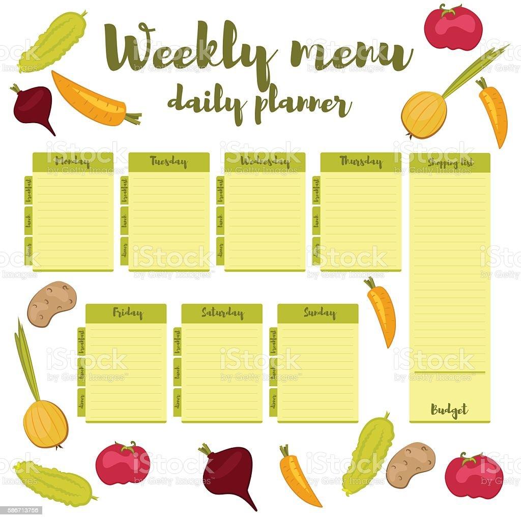 Weekly menu green daily planner vector art illustration