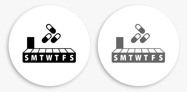Weekly Pill Box Black and White Round Icon Weekly Pill Box Black and White Round Icon. This 100% royalty free vector illustration is featuring a round button with a drop shadow and the main icon is depicted in black and in grey for a roll-over effect. pill container stock illustrations