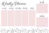 Weekly pink planner with flowers
