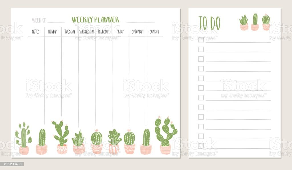 Weekly Planner And To Do List With Cactus Illustration ...