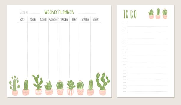 Weekly planner and to do list with cactus illustration. Vector. vector art illustration