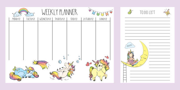 weekly planner and to do list with cute hand drawn unicorns,adorable fairy tail  animals - wildlife calendar stock illustrations, clip art, cartoons, & icons
