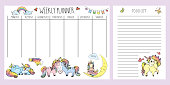 Weekly planner and to do list with different cute unicorns,adorable fairy tail horses,template page,doodle hand drawn vector illustration
